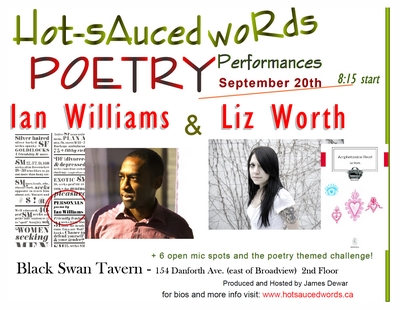 Hot-Sauced Words Sept 20 Featuring LIZ WORTH and IAN WILLIAMS